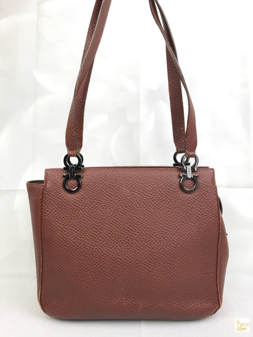 $1000 SALVATORE FERRAGAMO Gancini Brown Pebbled Leather Tote Shoulder Bag SALE!