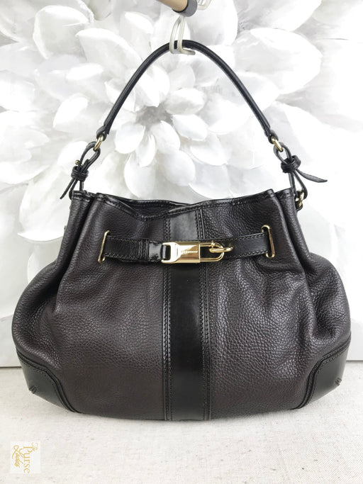 BURBERRY Brown Grainy Leather Medium Willenmore 2 Way Hobo