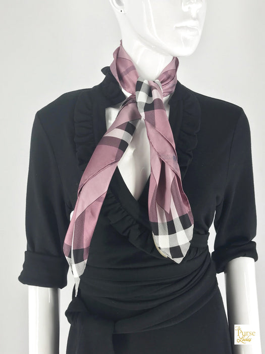 Burberry Purple Silk Check Scarf