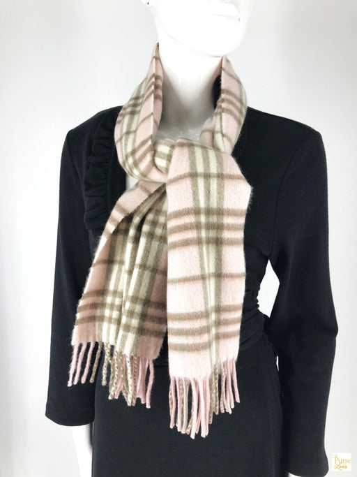 BURBERRY 100% Cashmere Pink Check Scarf