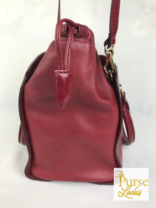 BURBERRY Red Leather Dinton Drawstring 2 Way Tote