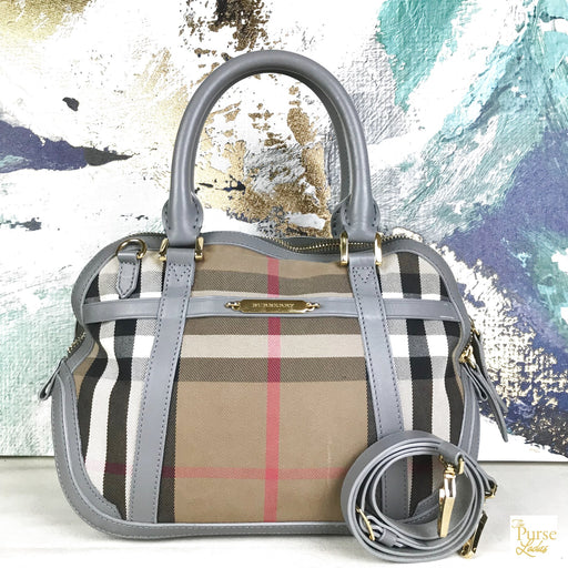 BURBERRY Gray Orchard Check Satchel