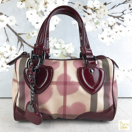 Burberry Red Supernova Heart Check Canvas Chester Bowling Satchel