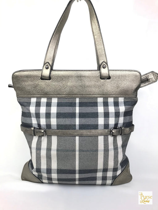 BURBERRY Pewter/Metallic Nova Check Tote Bag