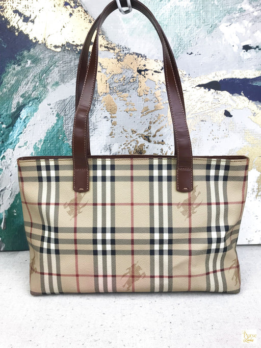 Burberry Haymarket Check Pebbled Leather Tote Beige