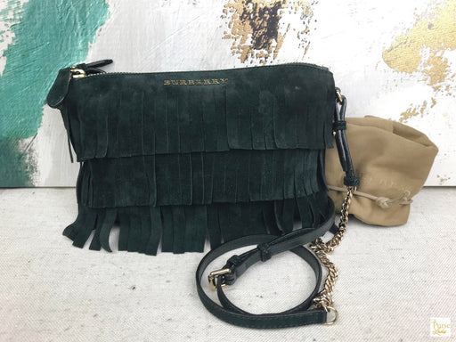 Burberry Green Suede Fringe Peyton Crossbody