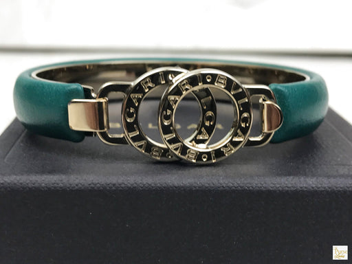 BVLGARI Green Leather Interlocking Circles Bracelet