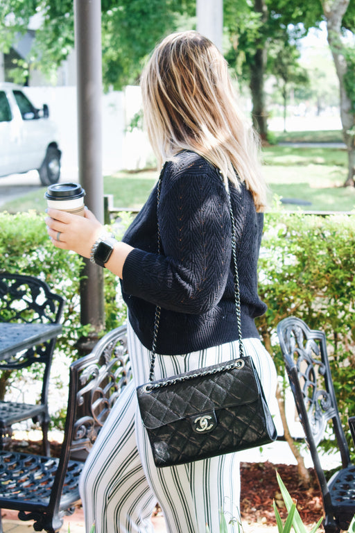 CHANEL Black Caviar Leather Crave Flap Bag
