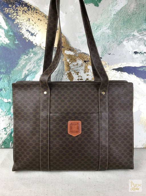 CELINE Brown Macadam Coated Canvas Tote