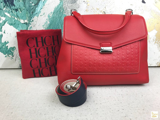 CAROLINA HERRERA Red Monogram Top Handle Bag