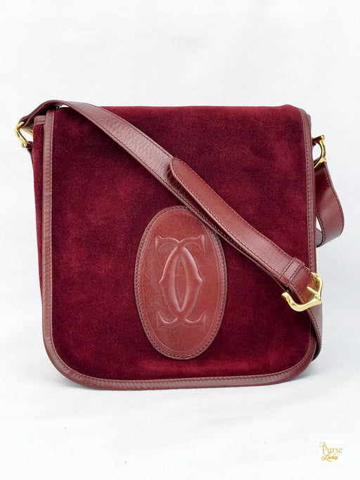 CARTIER Red Suede Flap Shoulder Bag