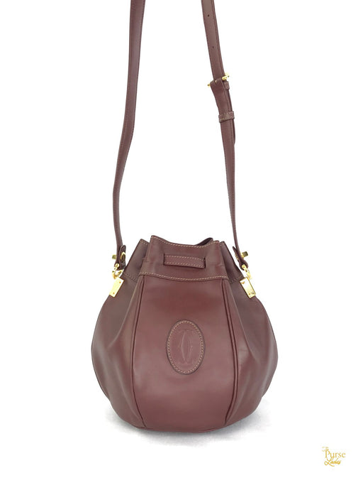 CARTIER Red Burgundy Mini Leather Crossbody Bucket Bag