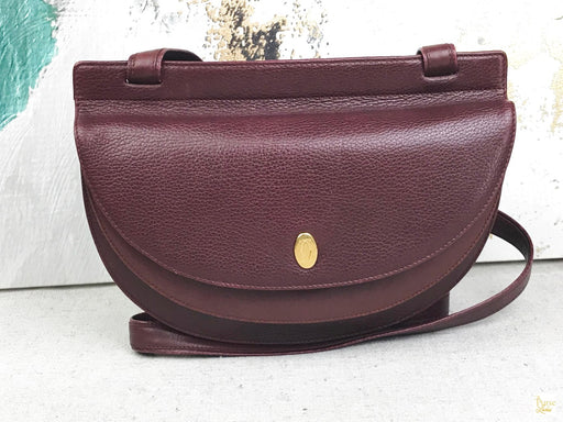 CARTIER Red Bordeaux Flap Leather Crossbody Bag