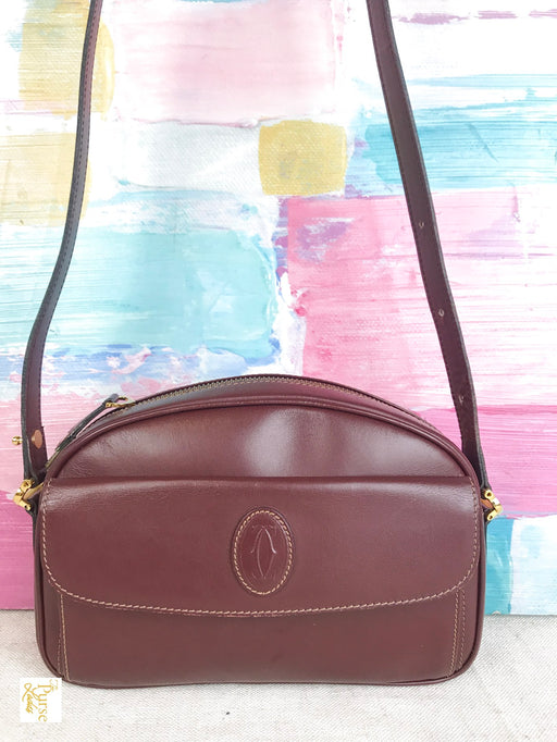CARTIER Red Bordeaux Leather Front Flap Crossbody Bag