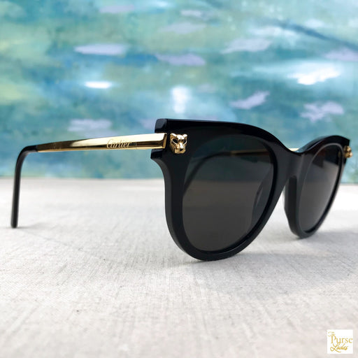 CARTIER Panthre Black Cat Eye Sunglasses