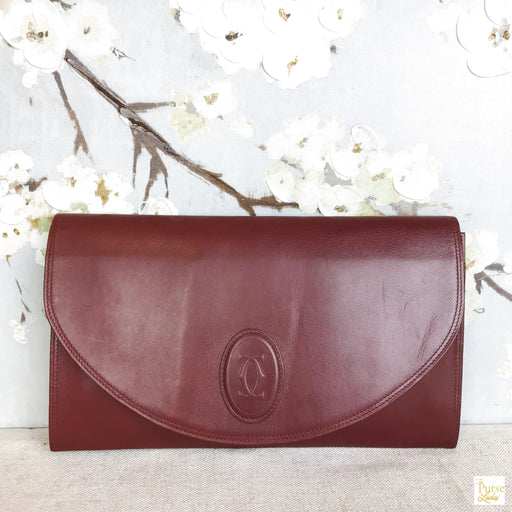CARTIER Bordeaux Leather Flat Clutch Pouch Bag