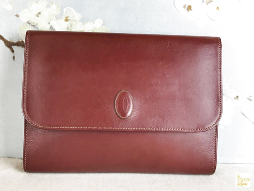 CARTIER Bordeaux Flap Clutch Pouch Bag 26242