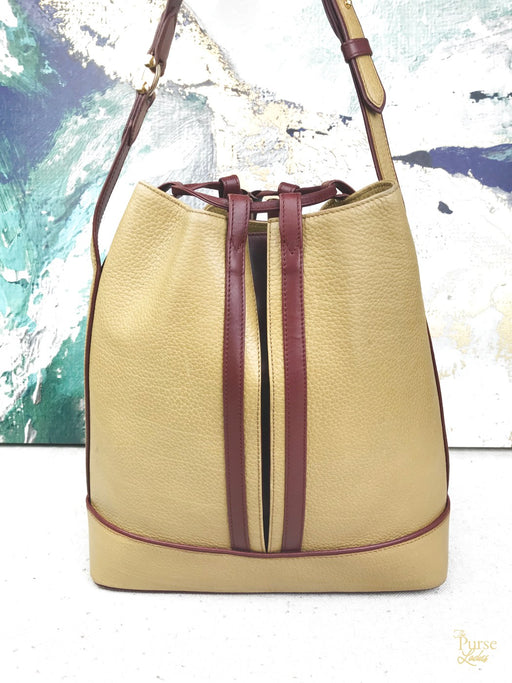 CARTIER Yellow Mustard Leather Drawstring Bucket Bag