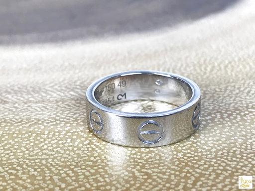 CARTIER 750 18K White Gold Love Ring SZ 49