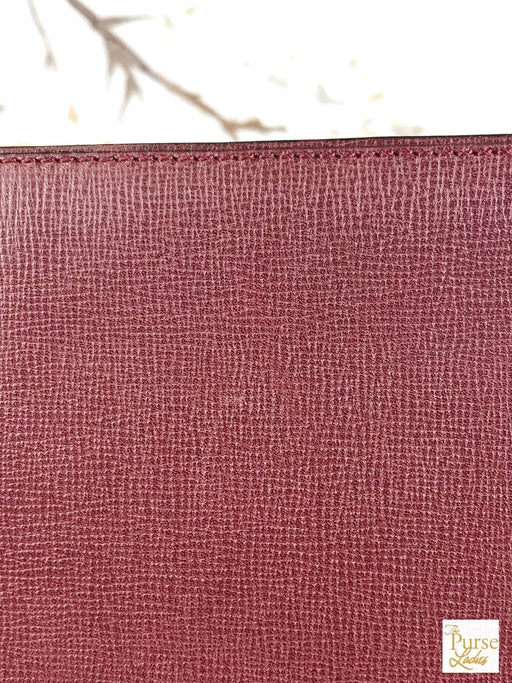 CARTIER Burgundy Bordeaux Leather Square Vintage Zippered Wristlet Clutch Bag
