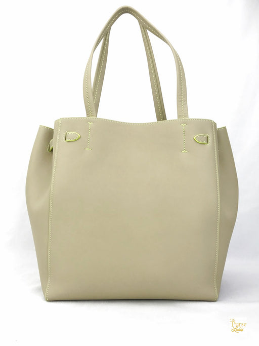 CELINE Beige Leather Cabas Phantom Tote