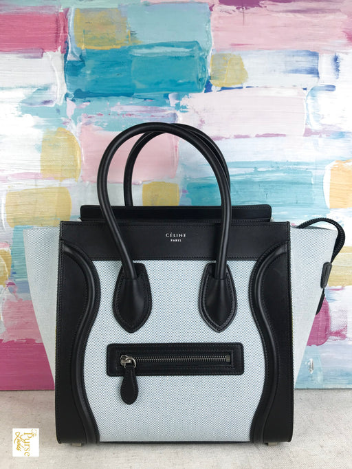 CELINE Light Blue Canvas Micro Luggage Tote