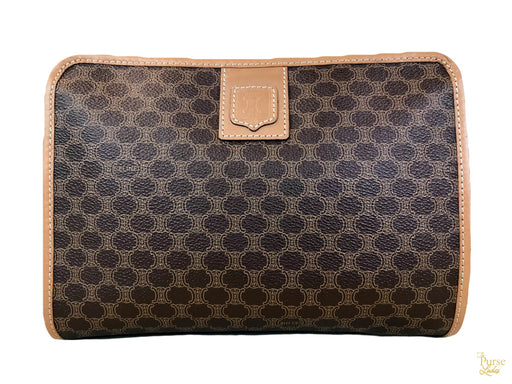 $795 CELINE Brown Macadam Cosmetic Case Bag Coated Canvas Zippered Tan