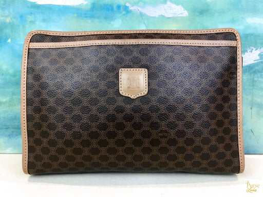 $460 CELINE Vintage Brown Macadam Coated Canvas Cosmetic Pouch Clutch