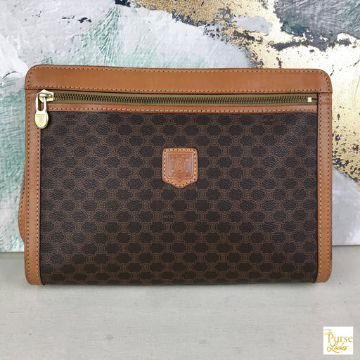 CELINE Brown Macadam Clutch