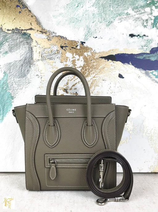 CELINE Taupe Gray Leather Nano Luggage Tote Bag