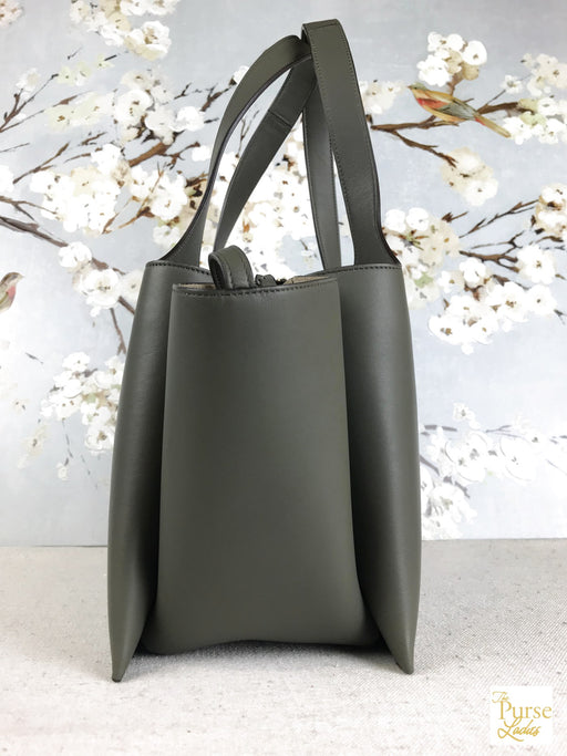 CELINE Green Leather Tri-fold Tote