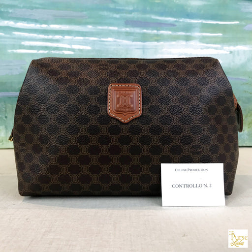 CELINE Brown Macadam Framed Zip Clutch