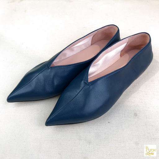 $780 CELINE Blue Babouche Soft Leather V Neck Flats Point Toe Sz 36.5 Shoes Womens w. Box