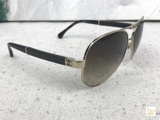 CHANEL 4195-Q Gold Acetate Pilot Sunglasses
