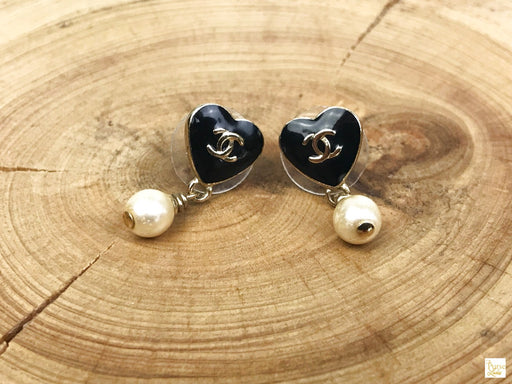 CHANEL Gold Black Enamel Heart Pearl Drop Earrings