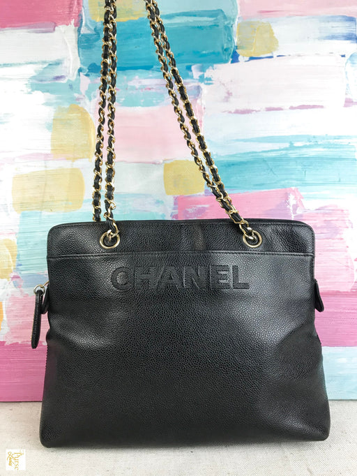 CHANEL Black Caviar Leather Vintage Chain Shoulder Bag