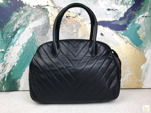 CHANEL Black Chevron Quilted Lambskin Satchel