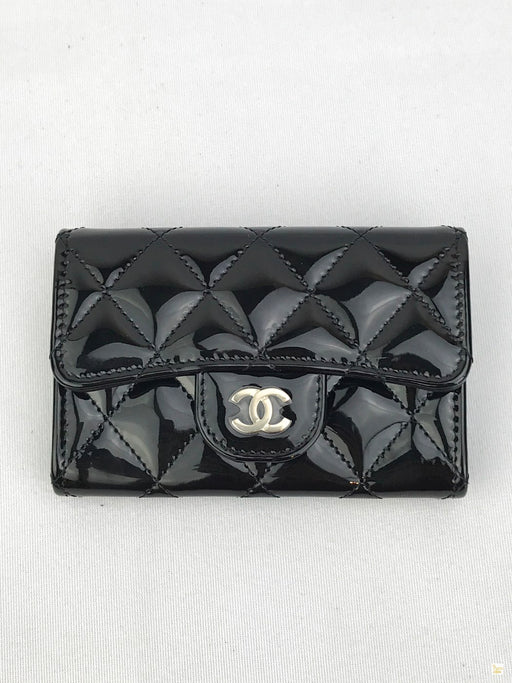 CHANEL Black Patent Leather Quilted Card Holder