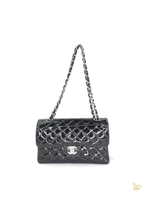 CHANEL Black Patent Leather Quilted Double Flap Bag