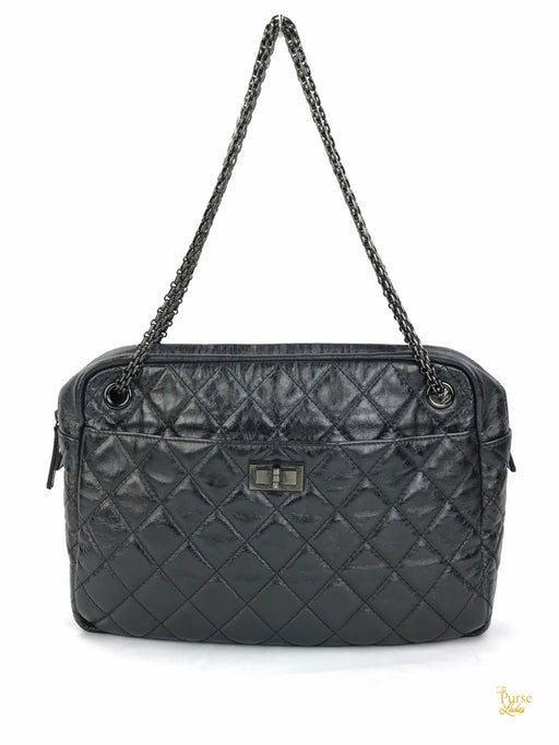 CHANEL Black Quilted Leather Reissue 2.55 Large Camera Bag
