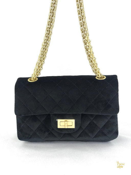 CHANEL Black Velvet Quilted Mademoiselle 2.55 Reissue Flap