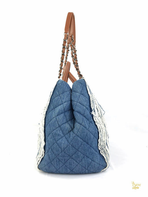 CHANEL Blue Denim Fringe Large Shopping Tote