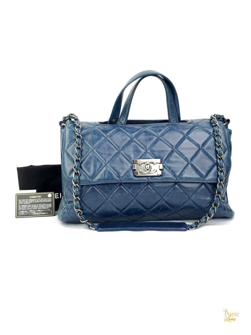 CHANEL Blue Quilted Leather Convertible Boy Satchel