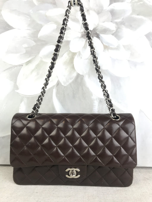 CHANEL Medium Classic Double Flap Chocolate Brown Chain Shoulder Bag