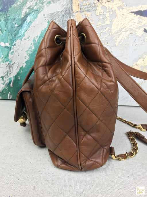 CHANEL Brown Vintage Quilted Lambskin Rucksack Backpack