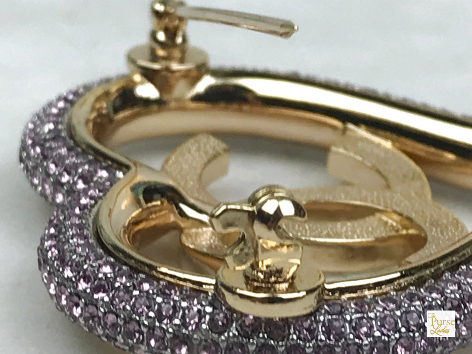 CHANEL Gold Plated Pink Crystal Strass Brooch