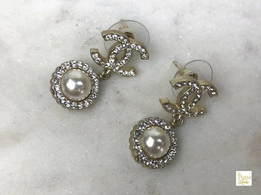 CHANEL Light Gold Plated Crystal CC Pearl Drop Earrings