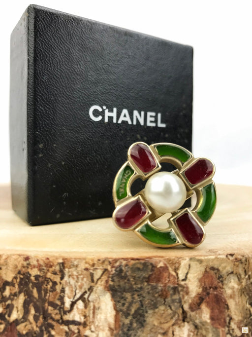 CHANEL Gold Brass 2007 Gripoix Pearl Ring SZ 7
