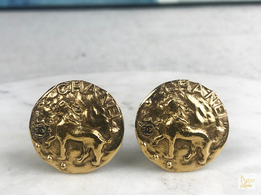 CHANEL Gold Plated Vintage Lion Clip On Earrings