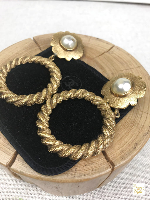 CHANEL Vintage Gold Metal Pearl Flower Hoop Drop Clip-On Earrings